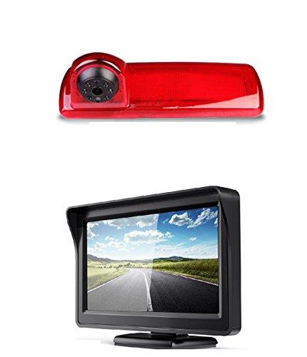 Auto Dritte Dach Top Mount Bremsleuchte Kamera Bremslicht Rückfahrkamera Monitor Set für Opel Vivaro B, Renault Trafic X82 NV300 ab 2014 + 4.3