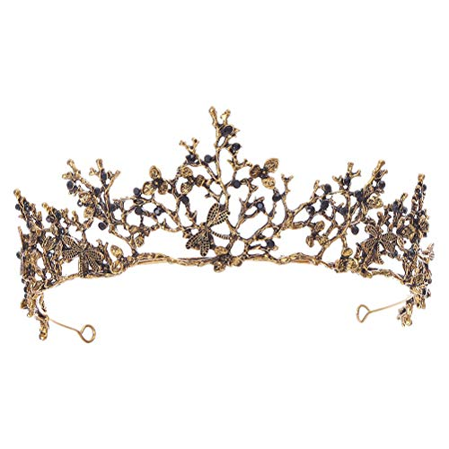 Minkissy - Corona barroca, retro, brillantes, corona de novia, barroca, reina barroca,...