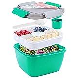 shopwithgreen Lunchbox, Bento Box Lunch-Behälter Salatbehälter Bento für Mittagessen,1300 ml, 3 Fächer mit 1 Gabel, auslaufsicher, mikrowellenfest Dunkel grün