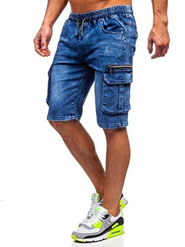 BOLF Hombre Pantalón Corto Pantalones Vaqueros Denim Shorts Sombreado Pantalón de Algodón Estilo Diario Red Fireball HY659 Azul Oscuro L [7G7]