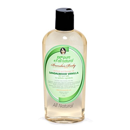 100% pure and all natural by Brenda's Body - LITE BODY and MASSAGE OIL Sandalwood Vanilla 8 oz ORGANIC Aromatherapy Handmade in USA - Eco friendly - Unisex