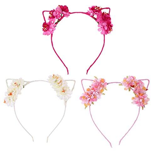 Frcolor 3pcs Katzenohren Haarreif Stirnbänder Party Kostüm Katze Blumen Haarband Spange