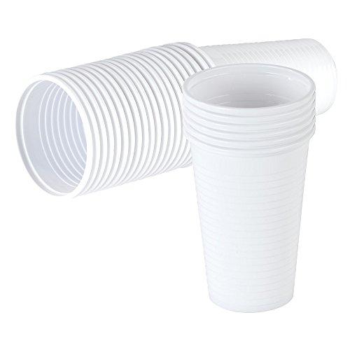 Qualitäts Trinkbecher weiß 0,2 l. Einwegbecher Ausschankbecher Becher Plastikbecher (300)