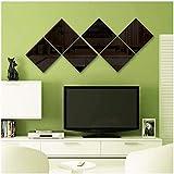 12 Láminas Espejo Reflejo Pared Cuadrado , láminas acrílico Espejo para Superficies Lisas y Libres de Polvo (Negro, 15_X_15cm)
