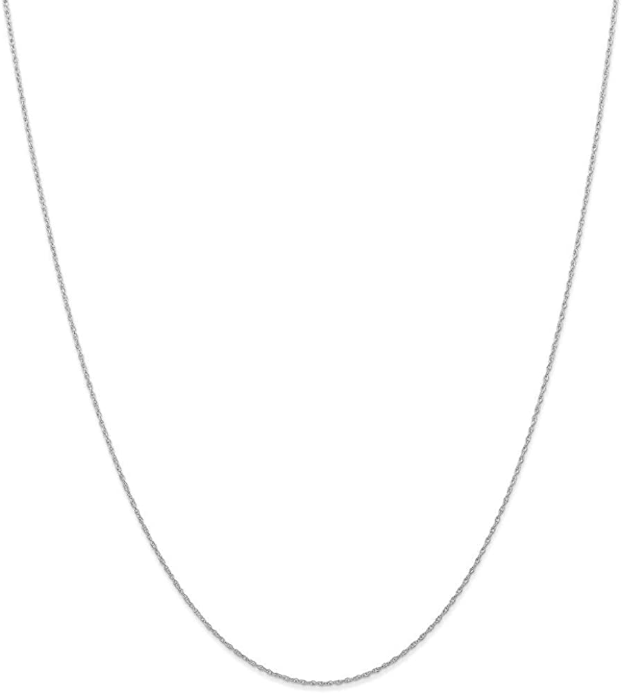 14k White Gold .6 Mm Cable Link Rope Chain Necklace 16 Inch Pendant Charm Carded Fine Jewelry For Women Gifts For Her