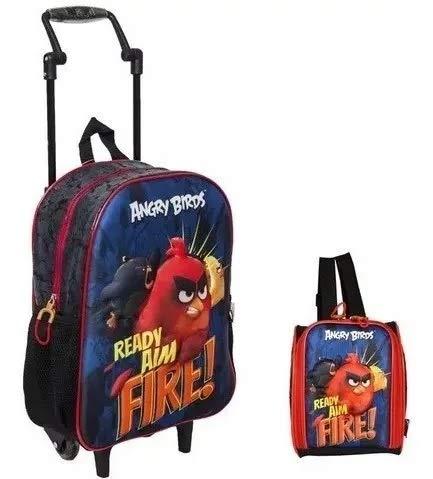 Mochila Angry Birds Fire Rodinhas G Azul Santino + Lancheira