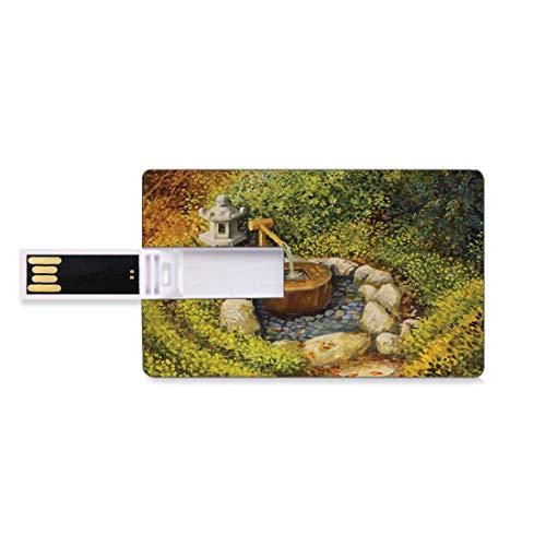 16 GB Unidades Flash USB Flash Jardín Zen Forma de Tarjeta de crédito bancaria Clave Comercial U Disco de Almacenamiento Memory Stick Paisajes de Naturaleza Tranquila con una Linterna de Piedra y una
