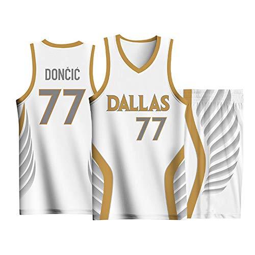 Uniformes De Baloncesto De Jersey City Edition para Hombre, Dallas Mavericks # 77 Doncic Fans Jersey Competition Swingman Jerseys Trajes Kits Top + Short 1 Juego,Blanco,M