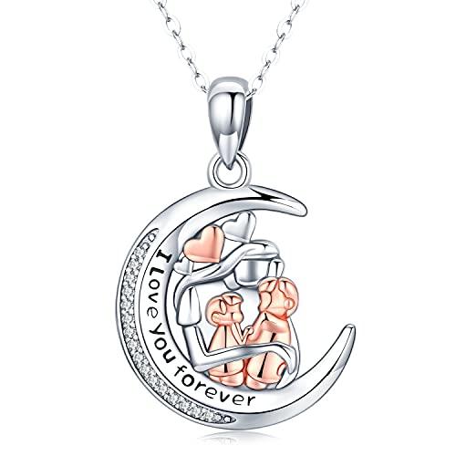 Friggem Collar de Madre e Hijo Plata de Ley 925 Collar con Colgante de Luna para Mamá Te Amo para Siempre Regalo de Joyería de Cumpleaños para el día de la Madre para Mujer Esposa Hija