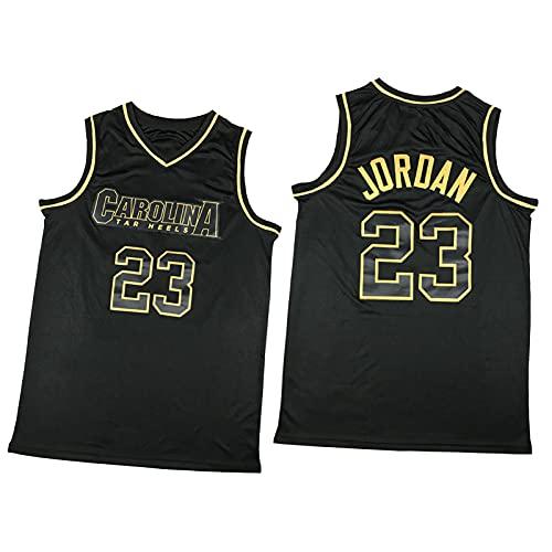 North Carolina 23# Bull Jordan - Camiseta de baloncesto para hombre, diseño retro con costuras de malla, transpirable y de secado rápido, suave y suave, color negro y dorado