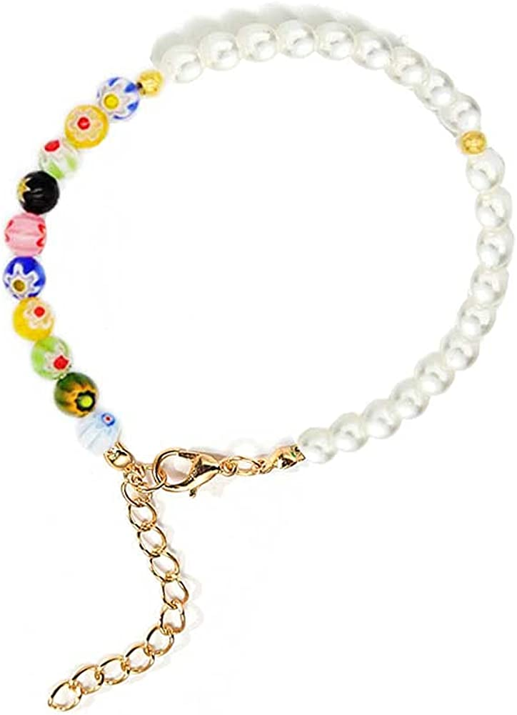 NA Smile Happy Face Artificial Pearl Colorful Clay Beaded Bracelet Happy Faces Charms Rainbow Clay Beads Handmade Bracelets Cute Y2K Jewelry Lovely Jewelry for Women Girls Teen