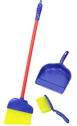Click N' Play Pretend Play Kids Broom, Dustpan, and Brush Household Cleaning Toy Play Set