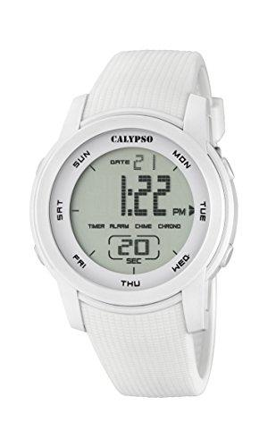 Calypso–Reloj Digital Unisex con LCD Pantalla Digital Dial y Correa de plástico Color Blanco k5698/1