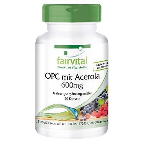 OPC 600mg Kapseln Acerola - HOCHDOSIERT - VEGAN - 90 Kapseln - Traubenkern-Extrakt