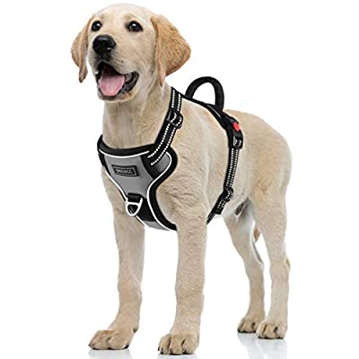 Petacc Dog Harness No-Pull Pet Harness Adjustable Outdoor Pet Reflective Vest Dog Walking Harness with Postpositive D-Ring Buckle and Handle for Small Medium Large Dogs