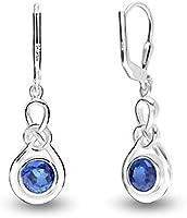 HIKARO Sterling Sliver Jewelry Leverback Celtic Knot Earrings for Women (Gemstone Birthstone Round 6MM)