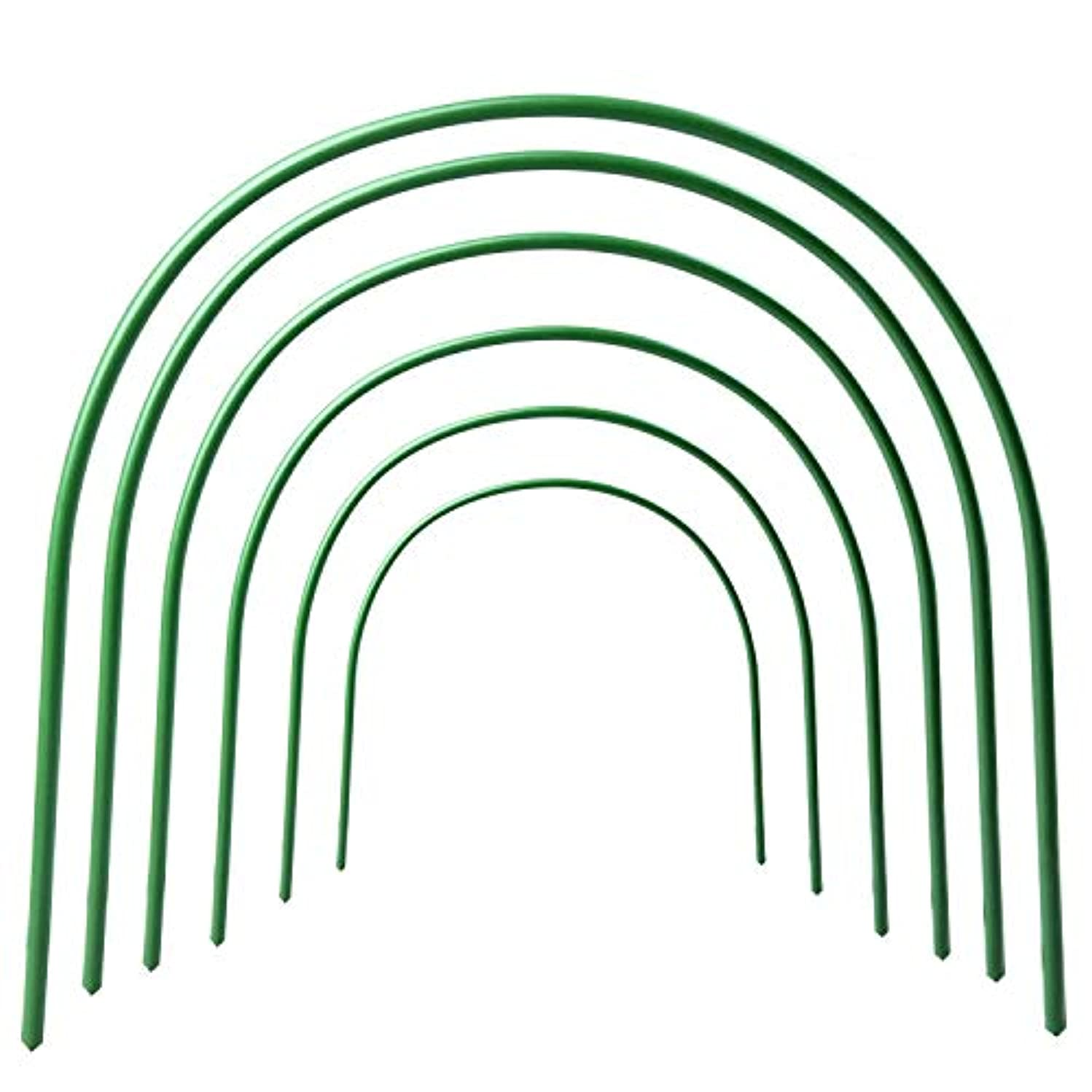 B&P Portable Garden Hoops Hoop Greenhouse Plant Hoops, Rust-Free Grow Tunnel 4ft Long Steel with Plastic Coated Hoops,Greenhouse Support Hoops for Garden Hoop,6Pack (Arch Size: 18.5