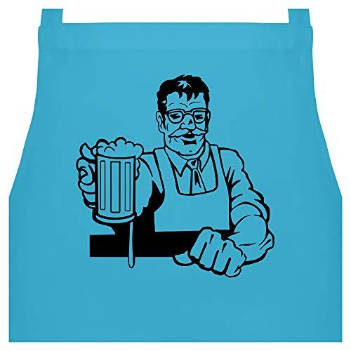 Shirtracer Schürze mit Motiv - Barkeeper - 60 x 87 cm (B x H) - Hellblau - PW102_Schürze_unisex - PW102 - Kochschürze für Männer und Damen