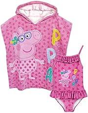 Peppa Pig Conjunto de Traje de Baño y Poncho de Toalla con Capucha Niñas