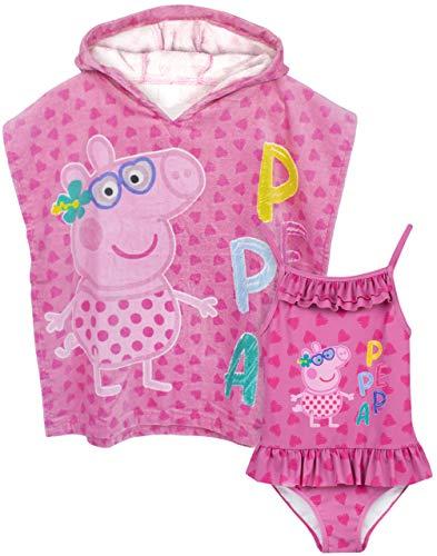 Peppa Pig Conjunto de Traje de baño y Poncho de Toalla con Capucha niñas 3-4 años