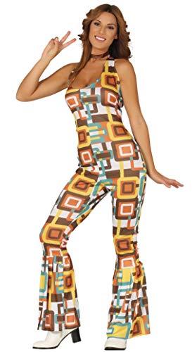 Fancy Me Damen Hippie-Kostüm, 70er-Jahre, Hippie-Jumpsuit, Festival-Kostüm