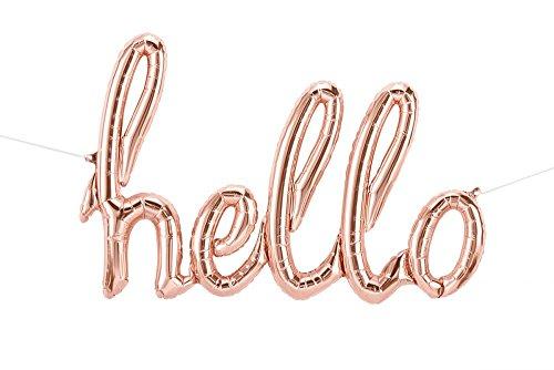 Northstar Balloons - Luftballon hello-Schriftzug in rosegold - XXL Folienballon als Hochzeit Deko, Begrüßung, Party Geschenk, Fotorequisite oder Sektempfang-Überraschung