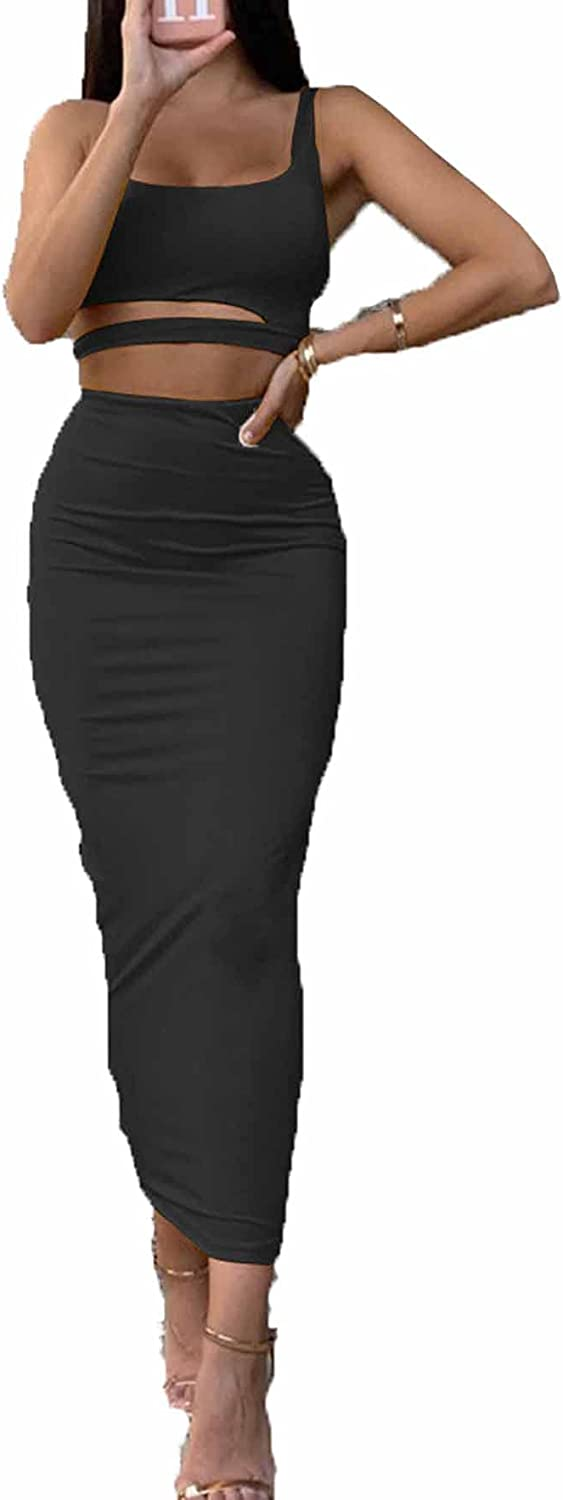 Yllision cianine Women's Sexy 2 Pieces Ruched Cut Out Crop Top Skirt Bodycon Party Cocktail Midi Club Dress