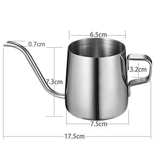 Kslong コーヒーポットコーヒー ケトルステンレス 細口ハンドパンチポットドリップih対応長い口ポット ファイン口ポット グースネックポット シルバー, 250ml