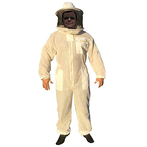 Bee Smart 800 - Ventilated Three Layers Mesh Beekeeping Suit with Removable hat/Veil - Size XL