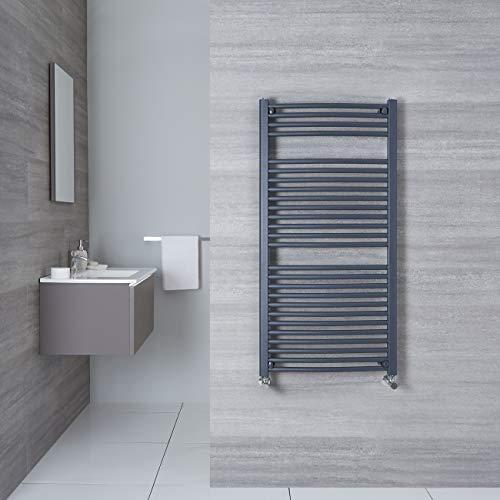 Hudson Reed Radiador Toallero de Diseño Moderno Loa - Radiador Toallero para Baño con Estilo Moderno - Acero Inoxidable Antracita- 686W - 1200 x 500mm