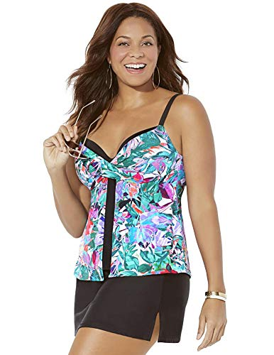SWIMSUITSFORALL Swimsuits for All Women's Plus Size Faux Flyaway Underwire Tankini Set with Side Slit Skirt 12 Multi Watercolor, Black
