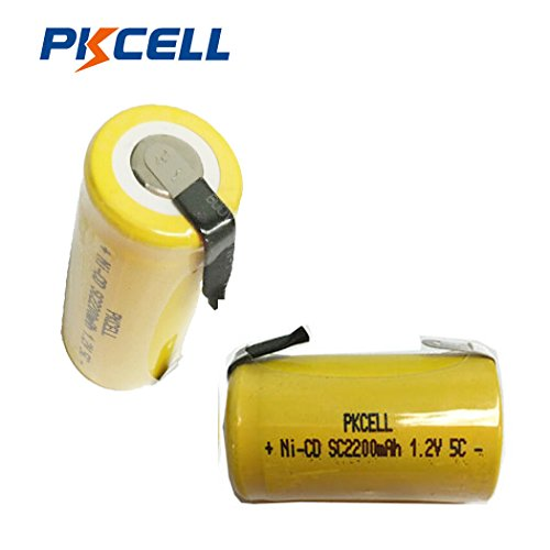 Pkcell Sub C 2200mAh NiCd Rechargeable Battery for Power Tools (w/Tabs) (2pc)