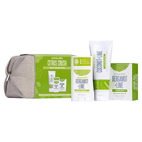 Schmidt's Citrus Crush TRIO Vegan and Cruelty-Free Christmas Giftset, Alcohol Free Natural Deodorant, Mouth and Toothpaste and Natural Soap