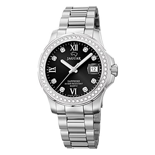JAGUAR Reloj Modelo J892/4 de la colección Woman, Caja de 34,5 mm Negro con Correa de Acero para señora