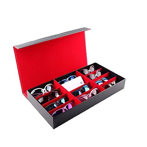 Chytaii Estuche para 12 gafas, organizador de joyas, resistente al polvo, para gafas de sol, contenedor de almacenamiento de piel sintética, color negro, exquisito y duradero, para hombres y mujeres