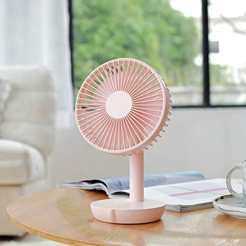 Draagbare USB-mini-ventilatoren Klein bureau, 5 snelheden, fluisterstil, opladerfunctie, 6 inch geruisloze kleine elektrische ventilatoren voor kantoorslaapkamerstudie,Pink