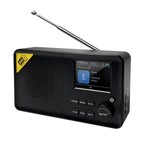 Tragbares DAB Radio, TOGAVE Bluetooth Stereo DAB+ FM-Radio mit 40 Presets Digitaler Radiowecker, Integriertem 2000mah Lithium-Akku, LCD Display,Sleeptimer Doppelalarm Snooze Digitalradio für Eltern