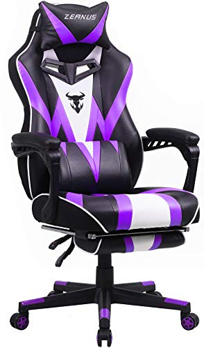 Zeanus Gaming Chair with Massage Purple, Big and Tall Computer Chair, Gaming Chair for Adults, Ergonomic Gaming Chair with Footrest, Reclining Desk Chair, High Back Racing Chair,E-Sports Gamer Chair