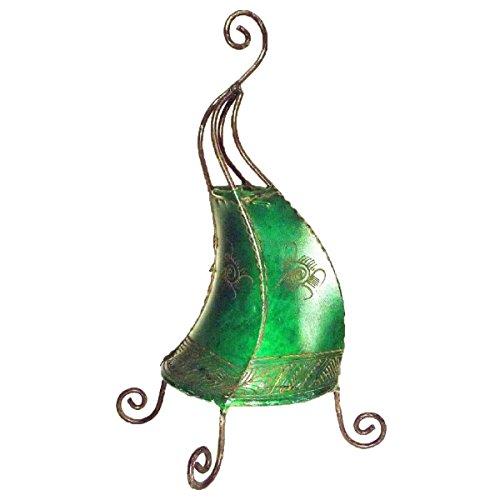 Orientalische Lampe Stehlampe marokkanische Hennalampe Lederlampe Tischleuchte Stehleuchte Orient Coq Sonne 40 cm Color Grün