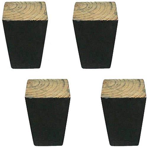GANE Massivholz-Sofabeine Verjüngte Möbelfüße, quadratische Stütz-Tischbeine, Ersatz-Couchtischbeine, 4-TLG, Mit Zubehör (8 cm)