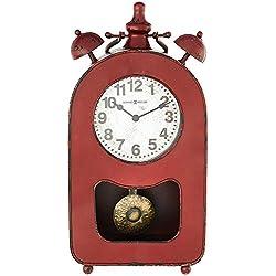 Howard Miller Ruthie Mantel Accent Clock 635-206 – Red Metal Antique with Quartz Movement