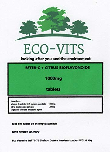 ECO-VITS Ester-C (1000MG) 240 TABS. Biodegradable Packaging. Sealed Pouch