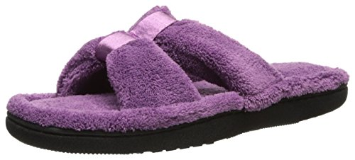 isotoner Women's Microterry Satin X-Slide, Ultraviolet, 8-9