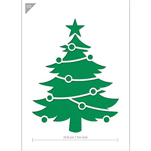 Weihnachtsbaum Schablone - 2 Schichten Plastik - A3 42 x 29,7 cm - Baumhöhe 31 cm - wiederverwendbare kinderfreundliche Schablone für Malerei, Handwerk, Fenster, Wände und Möbel