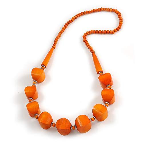 Avalaya - Collana con perline in legno massiccio, lunghezza 68 cm, colore: Arancione