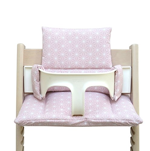Blausberg Baby - BESCHICHTET - hochwertiges Tripp Trapp Sitz-Kissen Set für Stokke Hochstuhl - 2-teilige Auflage/Polster/Sitzverkleinerer für Kinderhochstuhl – DIVERSE FARBEN (Happy Star Rosa)
