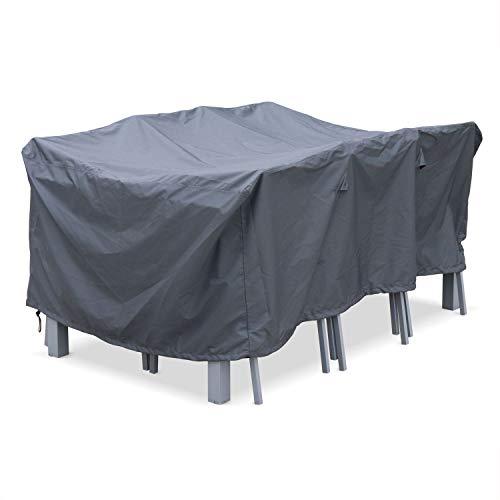 Housse de Protection 175x124cm Gris foncé - Bâche rectangulaire en Polyester Enduit PA pour Tables de Jardin Chicago et Bergamo