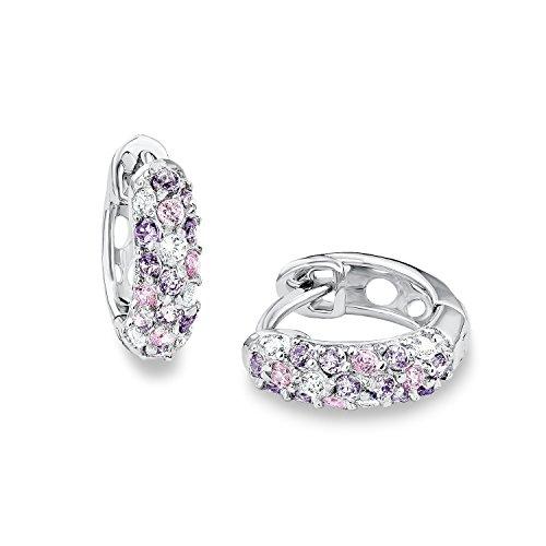 Prinzessin Lillifee Mädchen-Ohrringe Creolen 925 Sterling Silber Zirkonia rosa lila