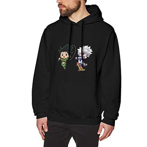 Quema Men's Gon and Killua Pullover Fleece Hooded Hoodies Sweatshirts Black