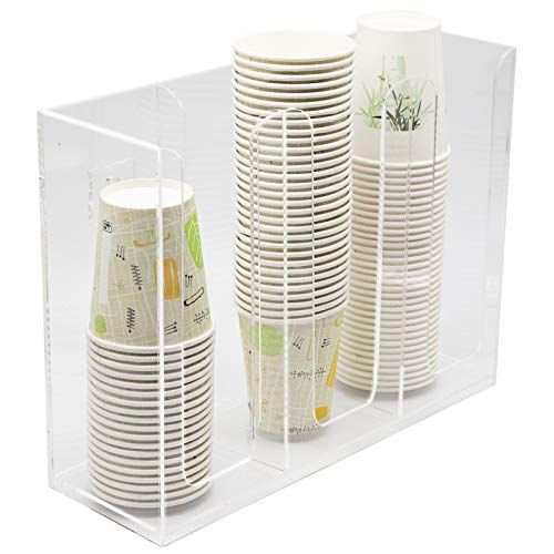 Together-life Disposable Coffee Cup Dispenser Organizer Paper Cup Lid Sleeve Holder Presentation Storage Coffee Milk Tea Shop Restaurant Accessories Halloween Party Supplies, Clear (Three Grids)